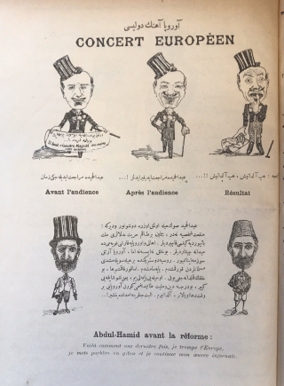 A page from Beberuhi showing caricatures of Abdülhamit with various expressions
