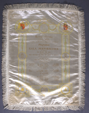 Tab.689.a.2.(3.): Royal Opera House (London), [Programme for gala or state performances, 11 June 1907]. Printed on white silk satin