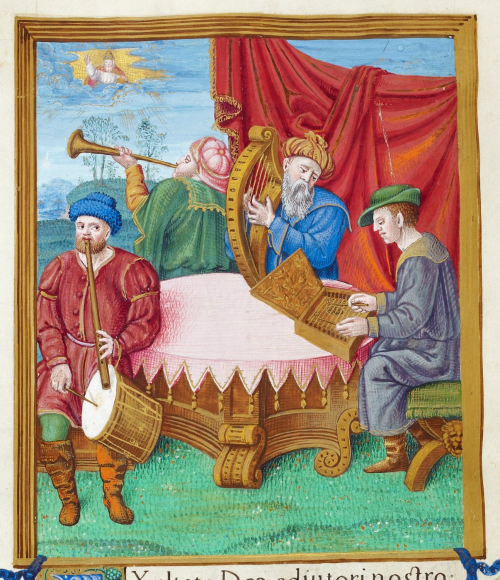 A miniature in an illuminated manuscript showing a group of 3 musicians playing their instruments