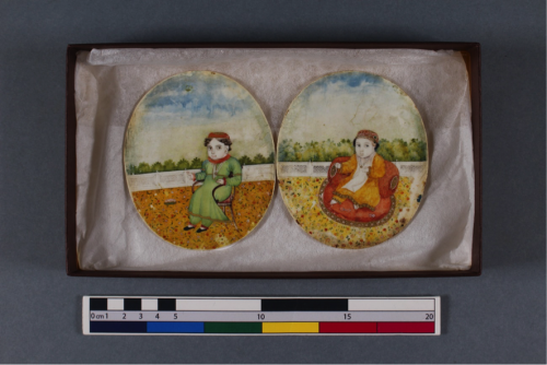 Pair of portraits painted on ivory, showing the two young sons of Wajid Ali Shah