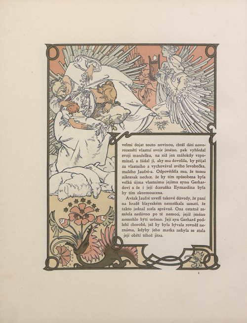 A page from Ilséa, princezna tripolisská with Art Nouveau illustrations by Alfons Mucha