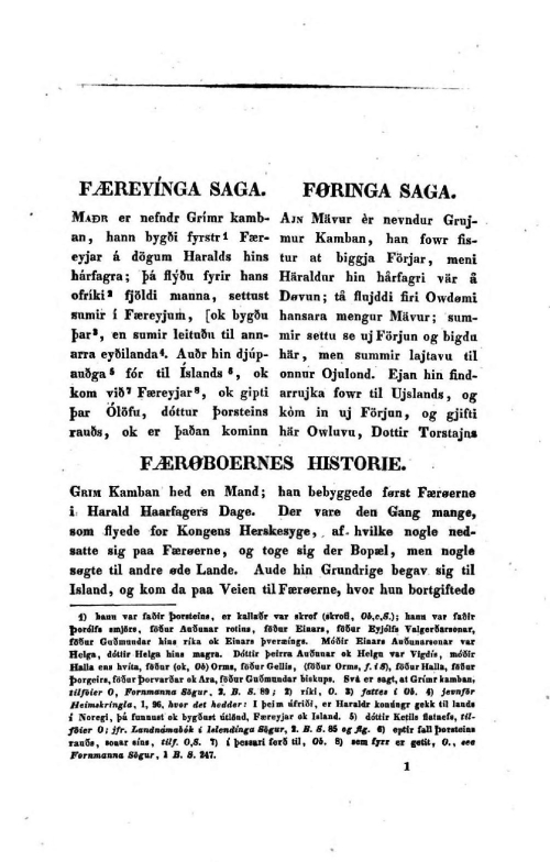 First page of Schrøter's trilingual Icelandic-Faroese-Danish edition of the Færeyinga Saga