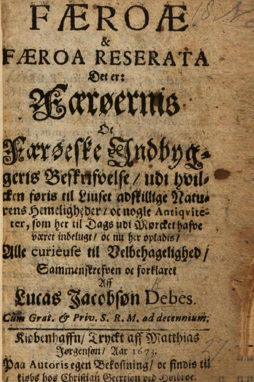 Title Page from Debes' Færoæ & Færoa reserata