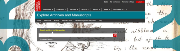 Screenshot of Explore Archives and Manuscripts online catalogue
