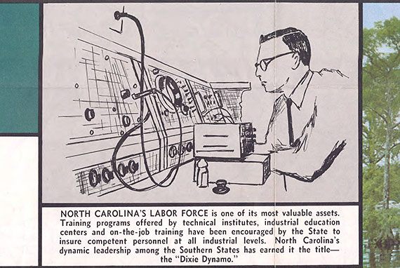 A detail of the back of road map from 1967 entitled Official North Carolina Highway Map, showing a man working in an industrial control room to illustrate the labor force