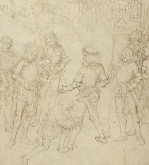 A pen drawing showing Richard Beauchamp in full armour receiving the garter around his left leg from a Knight who kneels below him. To his left stands King Henry IV. They are surrounded by other Knights of the Garter