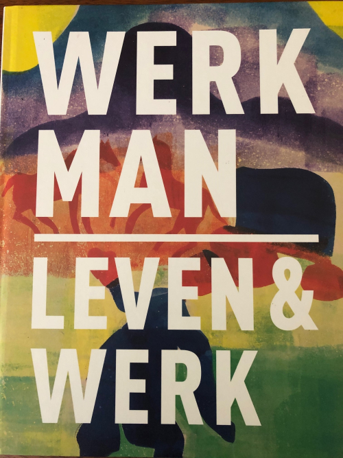 Cover of a book about Werkman with the title superimposed on one of Werkman's pictures
