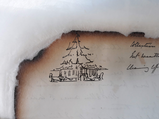Burnt page edge from Charlotte Canning's diary after consolidation with kozo paper
