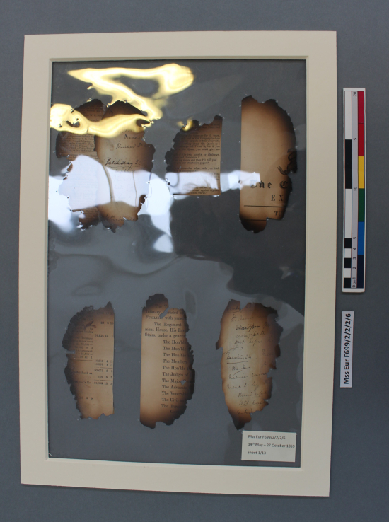 F699 2/2/2/6 after treatment with pages of the diary encapsulated between sheets of polyester surrounded by rigid frames made from acid-free mount board