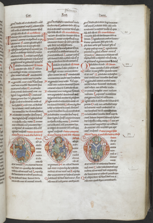 Three parallel Psalm translations, with decorated initials showing Christ making the sign of blessing, the Virgin and Child, and a bishop, at the beginning of Psalm 101