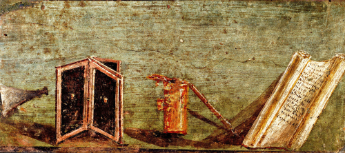 Roman fresco showing ancient writing materials