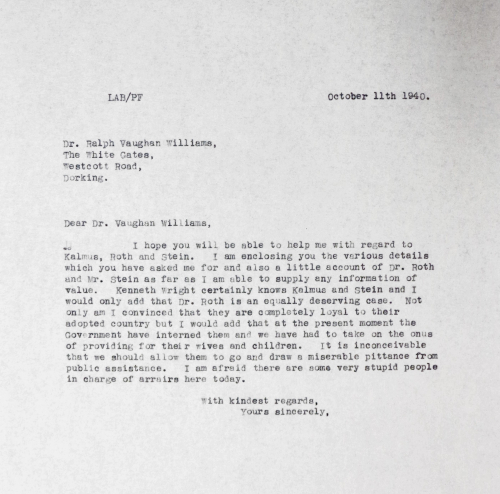 Copy letter from Leslie Boosey to Ralph Vaughan Williams