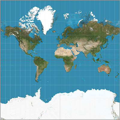 Map of the world on the Mercator Projection