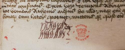 A tangle of narrow cursive loops in red ink, representing the name of Richard Amadas, written in the lower margin of the opening page of the Secretum Secretorum.