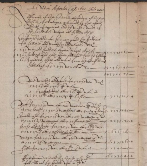 Accounts for the English 'castle' on Amboina for April 1621
