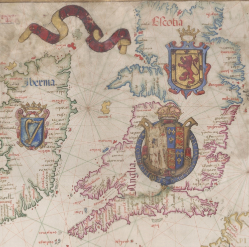 A detail from the Queen Mary Atlas, showing an illustration of a map of the British Isles, accompanied by heraldic devices.