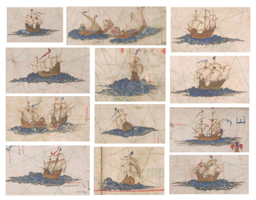 Details from the Queen Mary Atlas, showing small illustrations of different ships