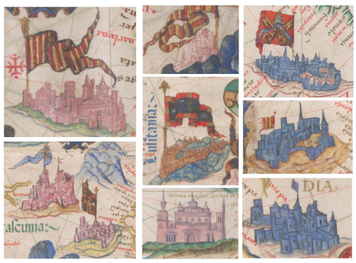 Details from the Queen Mary Atlas, showing illustrations of different cities, marked with banners and coats of arms