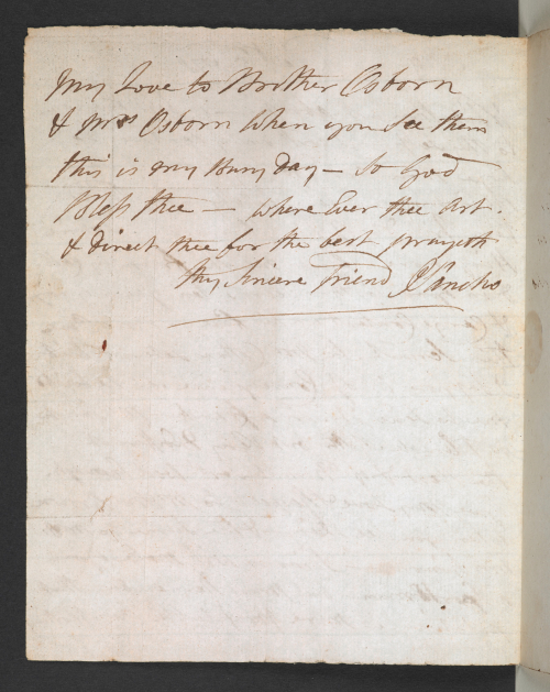 Photograph of manuscript letter written by Ignatius Sancho