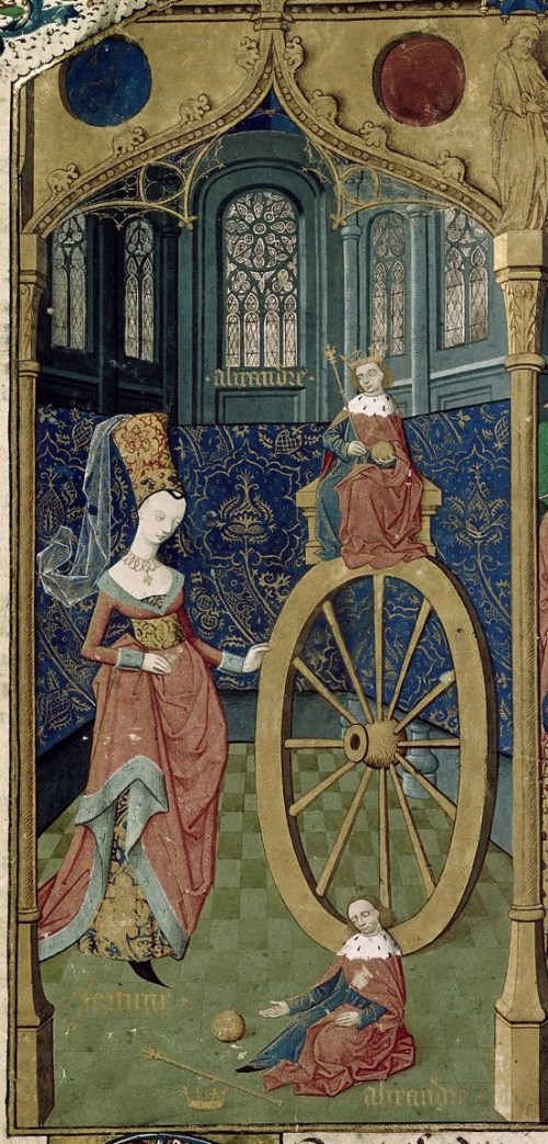 Detail of a miniature of Alexander and the Wheel of Fortune
