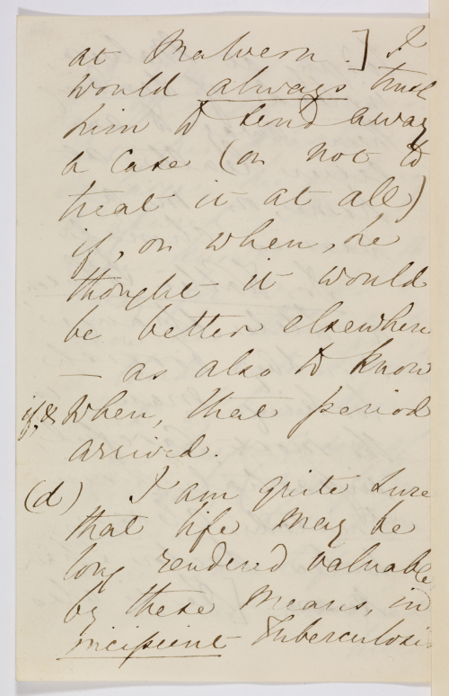 Page of letter from Florence Nightingale to Sidney Herbert