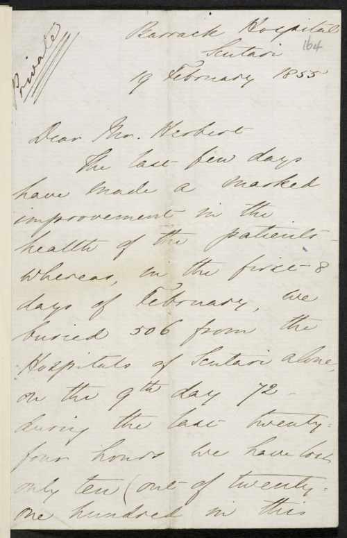 First page of letter from Florence Nightingale to Sidney Herbert