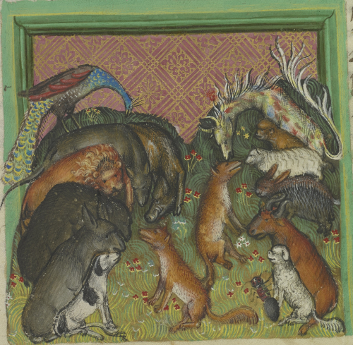 On the left, the Fox rejects animals as fellow pilgrims. From bottom to top they are: the Dog, Donkey, Bear, Lion, Wolf, Swine, and Peackock. On the right, the Fox invites other animals to join him on his pilgrimage. From bottom to top they are: the Ant, Weasel, Ox, Hedgehog, Hare, Lamb, Monkey, and Panther with multi-coloured spots.