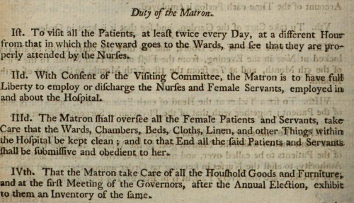 Matron duties Charter for establishing an hospital