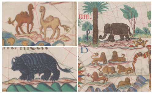 Details from the Queen Mary Atlas, showing illustrations of different animals