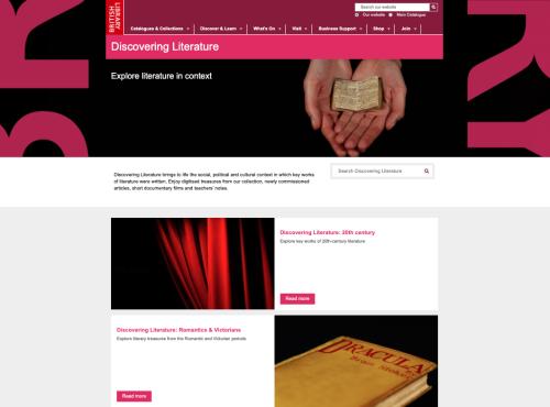Screenshot of Discovering Literature main portal site.