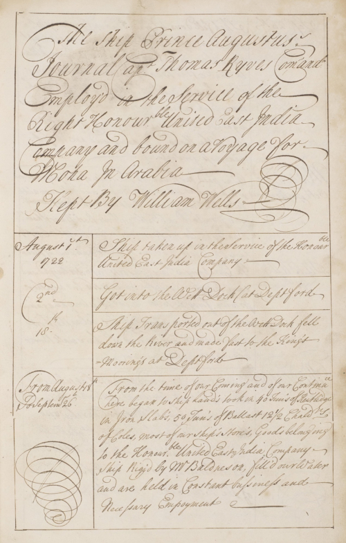 Journal of the voyage of the Prince Augustus to Mocha and Bombay, recorded by William Wells, Chief Mate, 1 August 1722 to 18 April 1725