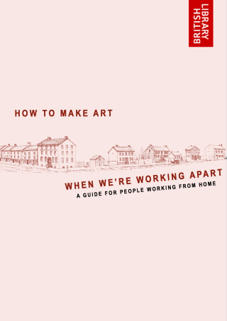 "Cover image for ""How to make art when we're working apart"" guide featuring a drawing of a row of houses"