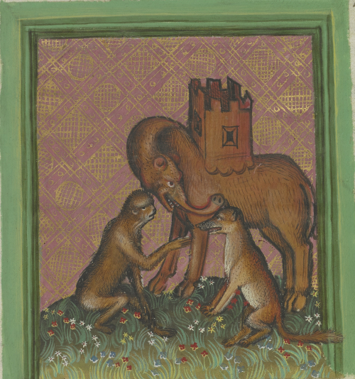 A brown monk talks with a brown Fox. Behind them stands the Elephant without tasks and with a castle on his back.