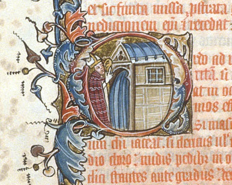 A miniature showing an anchoress being enclosed