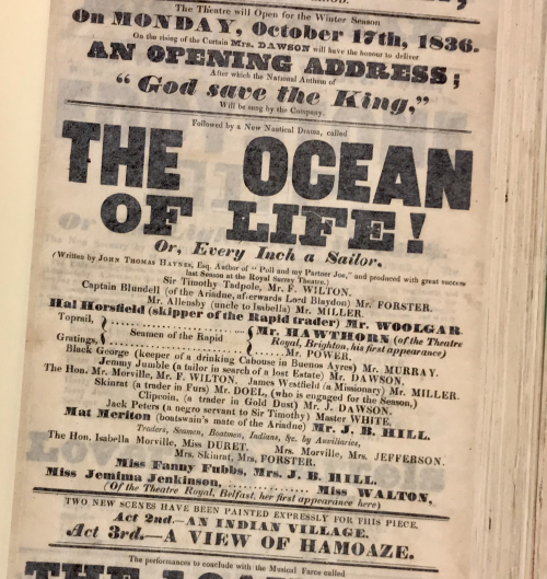 Photograph of playbill advertising The Ocean of Life Or, Every Inch a Sailor