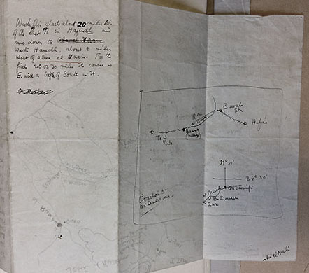 Sketch map of Bir Derwish made by T.E. Lawrence