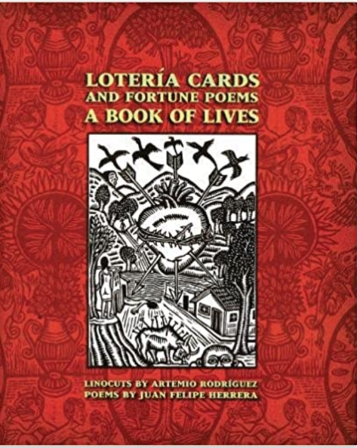 Image of the front cover of the book 'Lotería cards and fortune poems'. It shows an image of one of Rodríguez's linocuts on a red background with watermarked illustrations