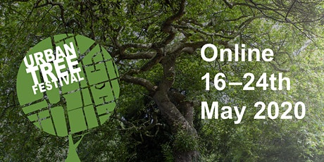 Urban Tree Festival logo with a photograph depicting a tree canopy