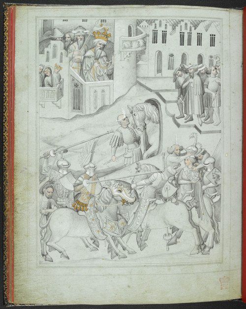 A tournament in Constantinople with jousting from The Travels of Sir John Mandeville