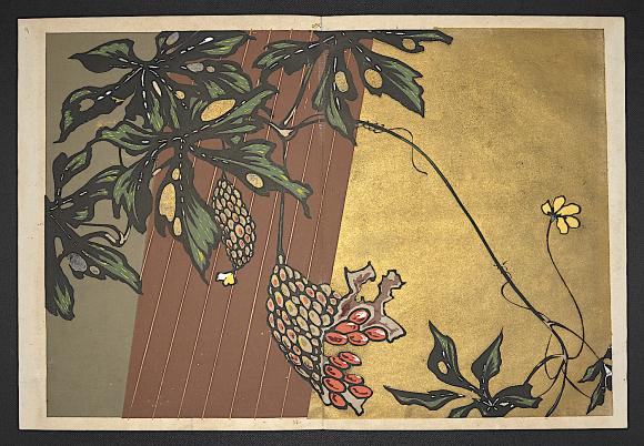 Bitter melons. Botanical designs from Shasei sōka moyō by Furuya Kōrin