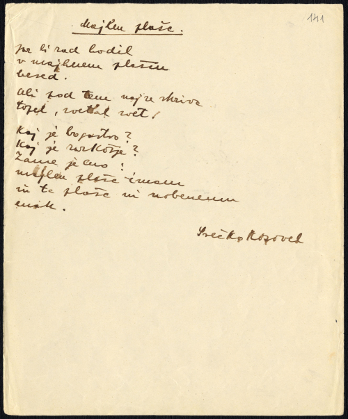 Manuscript of the poem Majhen plašč (A small coat) by Srečko Kosovel, 1926