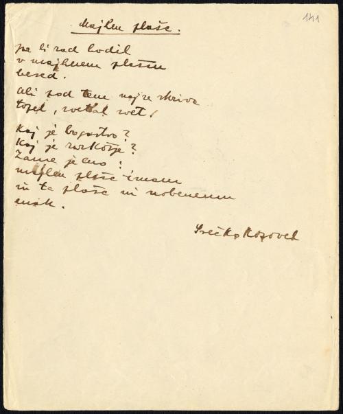 Manuscript of the poem Majhen plašč (A small coat) by Srečko Kosovel, 1926