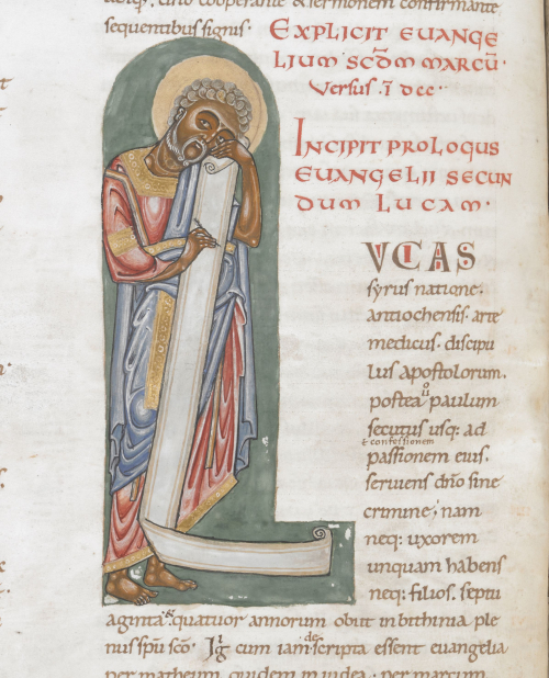 Decorated initial of St Luke at the beginning of his Gospel