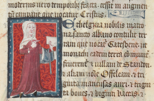 Donor portrait of Æthelgifu, a 10th-century noblewoman, holding a charter