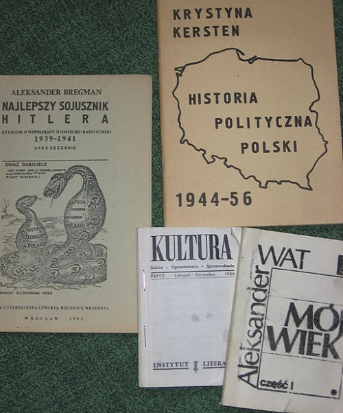Photograph of four Polish samizdat publications