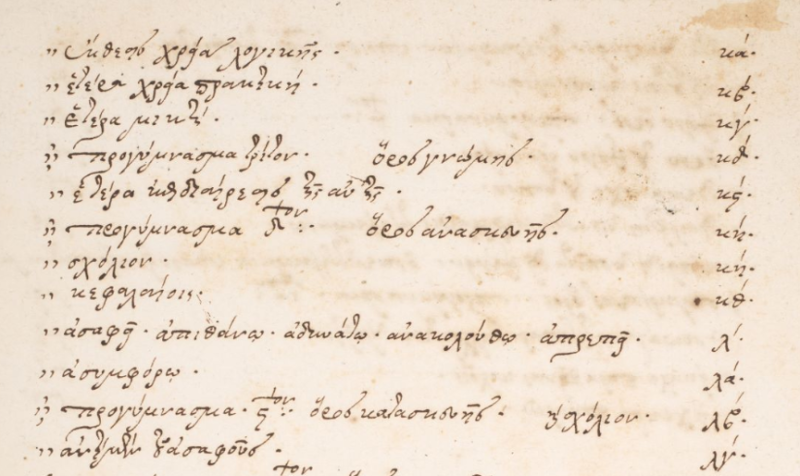 Table of content from the end of the Commentary of Theophilus Corydalleus