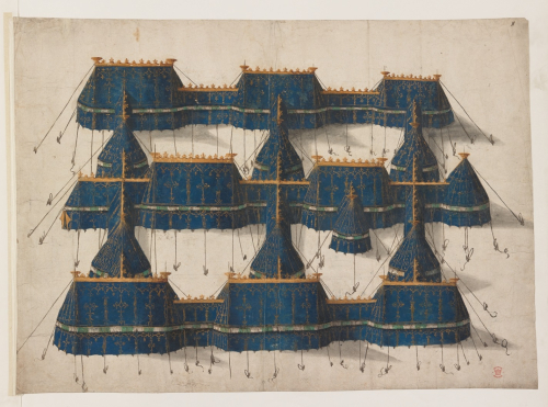 A drawing of blue tents for the Field of Cloth of Gold