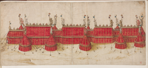 A drawing of red tents for the Field of Cloth of Gold