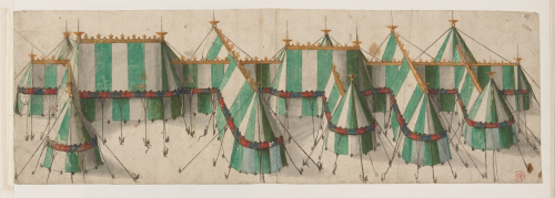 A drawing of green and white tents for the Field of Cloth of Gold