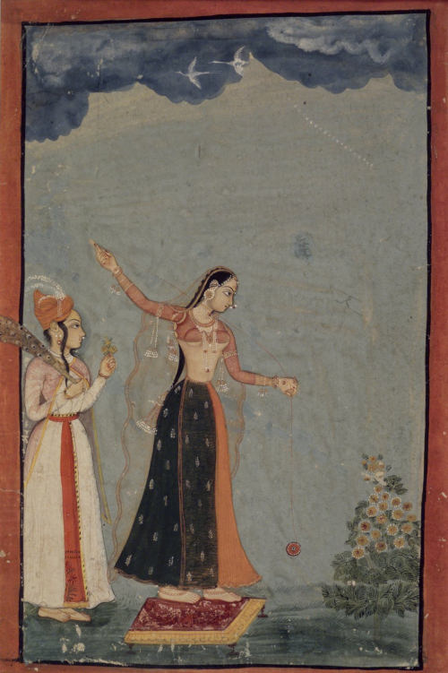 Lady with a Yo-yo, India, Rajasthan, Raghugarh, ca. 1770. Opaque watercolour and gold on paper, sheet: 9 1/4 x 6 3/16 in. (23.5 x 15.7 cm) (Brooklyn Museum, Gift of Alan Kirschbaum, 80.268.1)